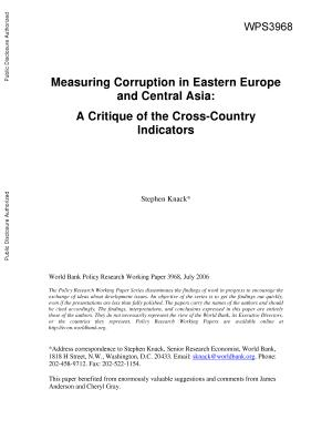 Measuring Corruption in Eastern Europe and Central Asia PDF