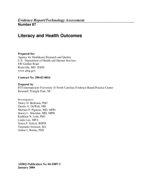 Literacy and health outcomes