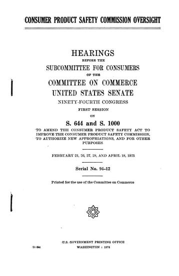 Consumer Product Safety Commission Oversight PDF