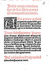 Index eorumque omniumque in hac arte parva Galeni pertractantur