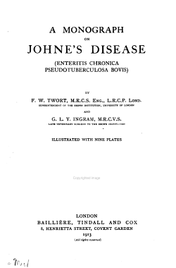 A Monograph on Johne s Disease  enteritis Chronica Pseudotuberculosa Bovis  PDF