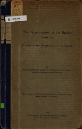 The Apperception of the Spoken Sentence: A Study in the Psychology of Language