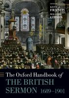 The Oxford Handbook of the British Sermon 1689 1901 PDF