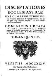 Disceptationes ecclesiasticae: Volume 5