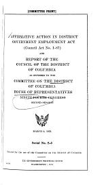 Hearings, Reports and Prints of the House Committee on the District of Columbia