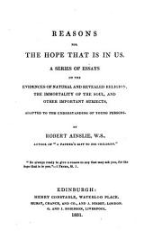 Reasons for the hope that is in us, essays