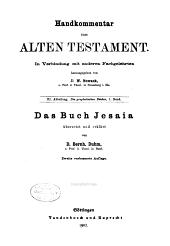 Handkommentar zum Alten Testament. In Verbindung mit anderen Fachgelehrten: Band 3,Ausgabe 1