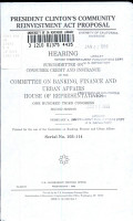 President Clinton s Community Reinvestment Act Proposal PDF