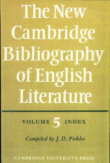 The New Cambridge Bibliography of English Literature  Volume 5  Index PDF