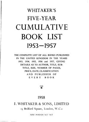 Whitaker s Five year Cumulative Book List