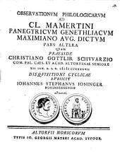 Observationes philologicae ad Claudii Mamertini Panegyricum genethliacum Maximiano Aug. dictum ...: Pars II.