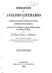 Ejercicios de ana̲lisis literario y coleccio̲n de piezas selectas en prosa y composiciones poe̲ticas castellanas