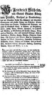Instruction für die Kreisdirectorien in den Fränkischen Fürstenthümern