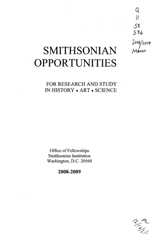 Smithsonian Opportunities for Research and Study in History  Art  Science