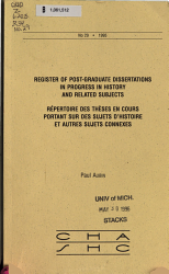 Register of Post graduate Dissertations in Process in History and Related Subjects PDF