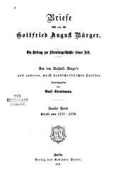 Briefe von und an Gottfried August Bürger: Bd. Briefe von 1777-1779
