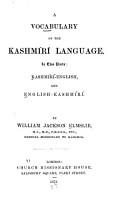 A Vocabulary of the Kashm  r   Language PDF