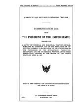 Chemical and Biological Weapons Defense: Communication from the President of the U.S