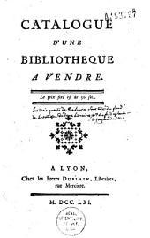 Catalogue d'une bibliothèque à vendre