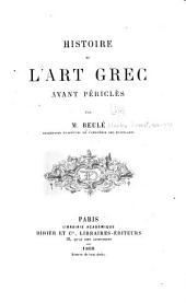 Histoire de l'art grec avant Périclès