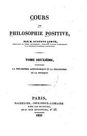 Cour de philosophie positive: Volume 2