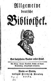 Allgemeine deutsche Bibliothek. (Mit Kupfern.): Band 14