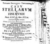 Tentamen phil.-¬theol. de casu stellarum in fine mundi: ad Matth. XXIV, 29, Marc. XIII, 25