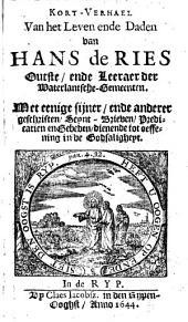 Kort verhael van het leven ende daden van Hans de Ries