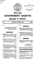 Belize Government Gazette PDF