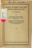 An Address     Before the Democratic Women s Luncheon Club of Philadelphia PDF
