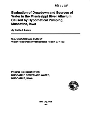 Evaluation of Drawdown and Sources of Water in the Mississippi River Alluvium Caused by Hypothetical Pumping  Muscatine  Iowa