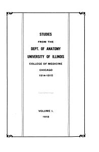 Studies from the Dept  of Anatomy  University of Illinois College of Medicine  Chicago PDF