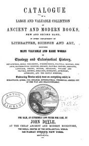 Catalogue of a Large and Valuable Collection of Ancient and Modern Books PDF