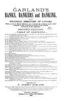 Garland s Banks  Bankers and Banking  and Financial Directory of Canada PDF
