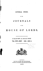 General index to the Journals of the House of Lords: Volumes 116-135
