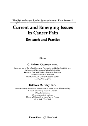 Current and Emerging Issues in Cancer Pain