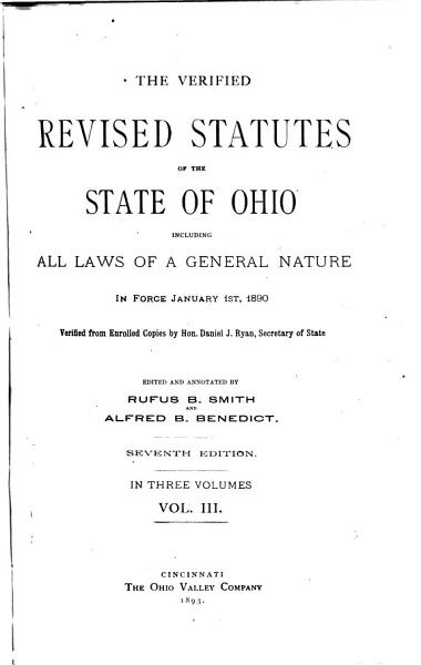 Download The Verified Revised Statutes of the State of Ohio Book
