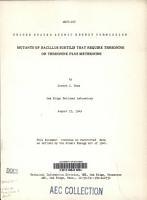 Mutants of Bacillus Subtilis that Require Threonine Or Threonine Plus Methionine PDF