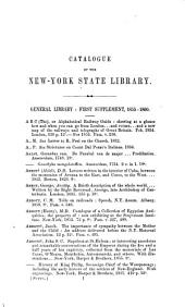 Catalogue of the New York State Library, 1861: General Library, First Supplement