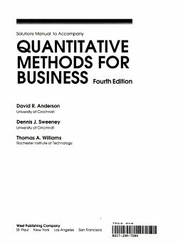Solutions Manual to Accompany Quantitative Methods for Business PDF