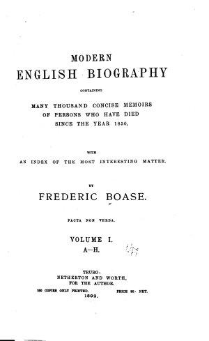 Modern English Biography: A-H