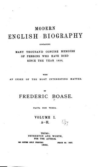 Modern English Biography  A H PDF
