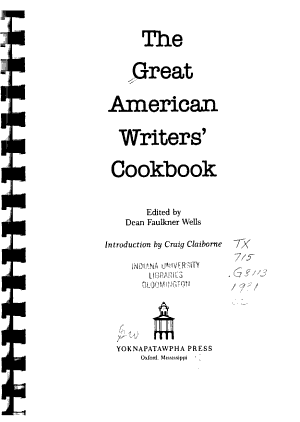 The Great American Writers  Cookbook PDF
