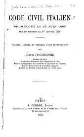 Code civil italien, promulgué le 25 juin 1865, mis en vigueur le 1er janvier 1866