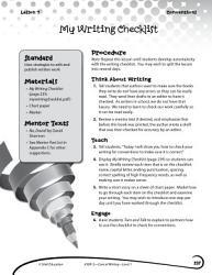 Writing Lesson Level 1 My Writing Checklist Book PDF
