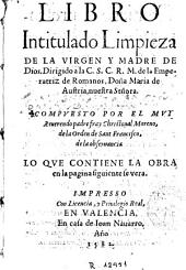 Libro intitulado Limpieza de la Virgen y Madre de Dios ...