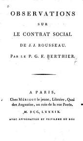 Observations sur le contrat social de J.J. Rousseau