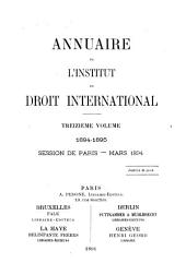 Annuaire de l'Institut de droit international: Volume 13
