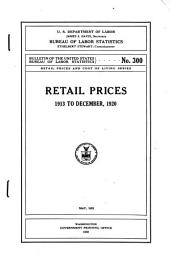Retail Prices, 1913 to December 1920
