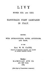 Livy, Books XXI and XXII: Hannibal's First Campaign